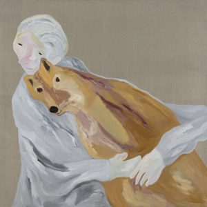 Dr Jane Goodall with dingo, 2015 by Darren McDonald Private collection, Melbourne and courtesy of Scott Livesey Galleries