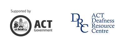 ACT Government logo, ACT Deafness Resource Centre logo