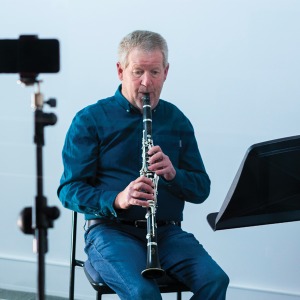 Alan Vivian playing the clarinet