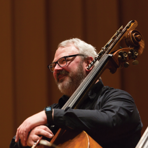 David Flynn holding a double bass